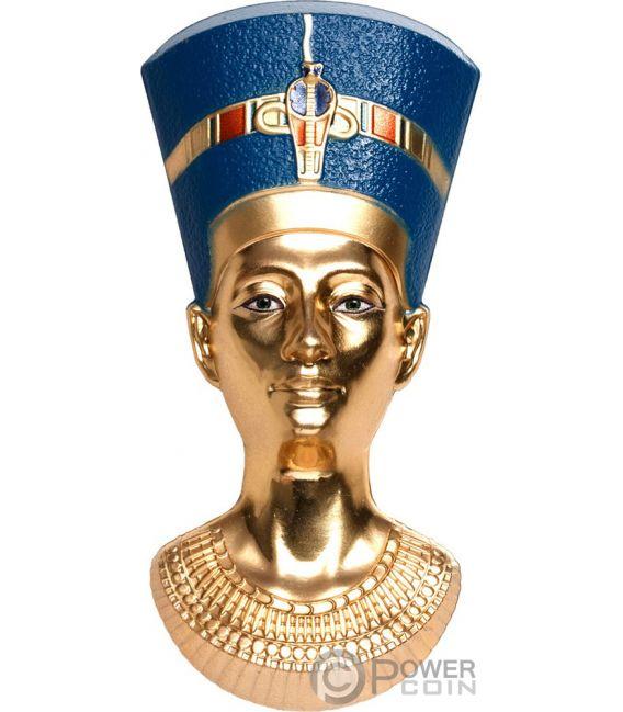 NEFERTITIS BUST Forma Egyptian Art 3 Oz Moneta Argento 20$ Palau 2019