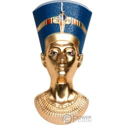 NEFERTITIS BUST Geformt Egyptian Art 3 Oz Silber Münze 20$ Palau 2019