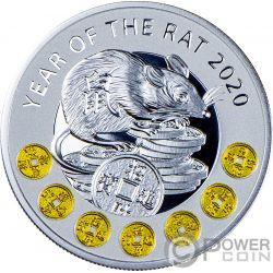 YEAR OF THE RAT Китайский Календарь Монета Серебро 1$ Ниуэ 2020