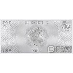 DONALD DUCK Утка 85 Годовщина Дисней Банкнота Серебро 1$ Ниуэ 2019