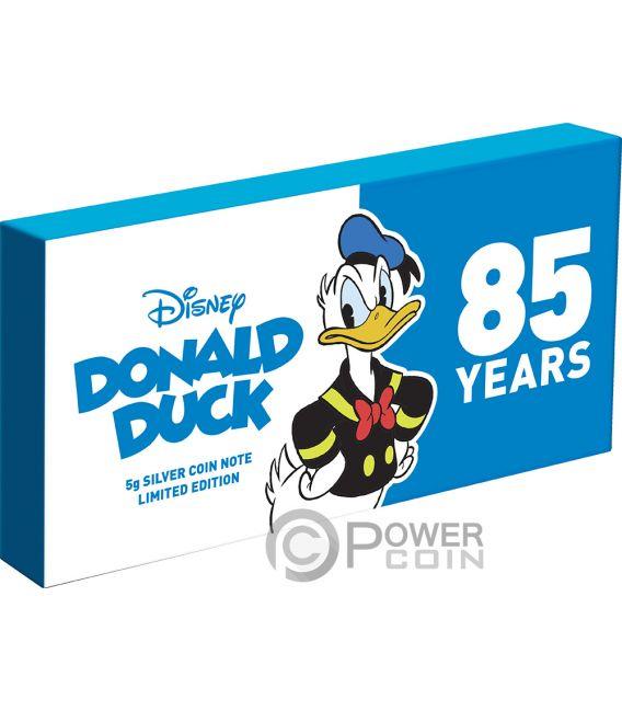 DONALD DUCK 85th Anniversary Disney Foil Silver Note 1$ Niue 2019