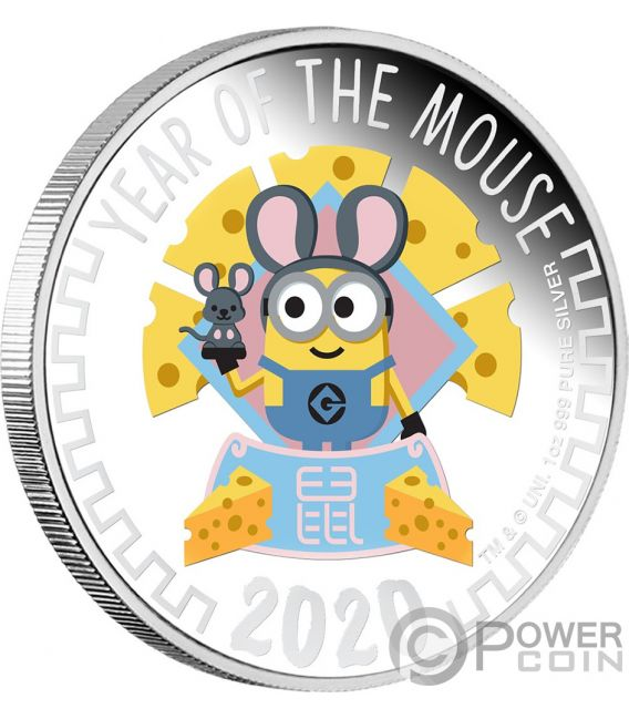 YEAR OF THE MOUSE Minion Made 1 Oz Silver Coin 2$ Niue 2020