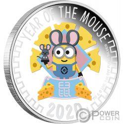 YEAR OF THE MOUSE Raton Minion Made 1 Oz Moneda Plata 2$ Niue 2020
