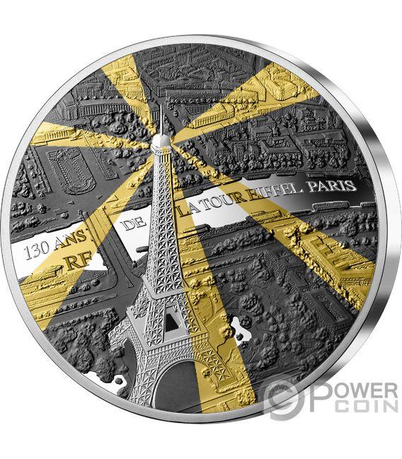 EIFFEL TOWER 130 Aniversario Tresors de Paris 5 Oz Moneda Plata 50€ Euro France 2019