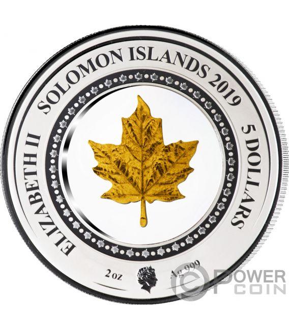 MAPLE LEAF Embracing Gold 2 Oz Silver Coin 5$ Solomon Islands 2019