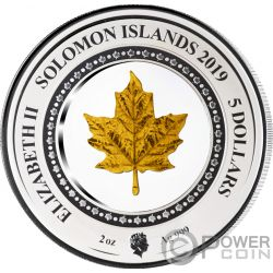 MAPLE LEAF Embracing Gold Золото 2 Oz Монета Серебро 5$ Соломоновы Острова 2019
