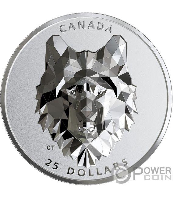 WOLF Lobo Multifaced Animal Head 1 Oz Moneda Plata 25$ Canada 2019