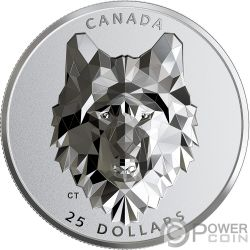 WOLF Lupo Multifaced Animal Head 1 Oz Moneta Argento 25$ Canada 2019