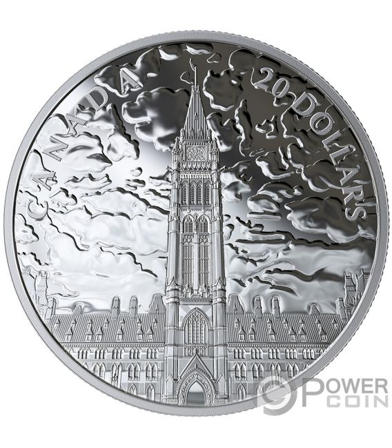 LIGHTS OF PARLIAMENT HILL 1 Oz Silver Coin 20$ Canada 2019