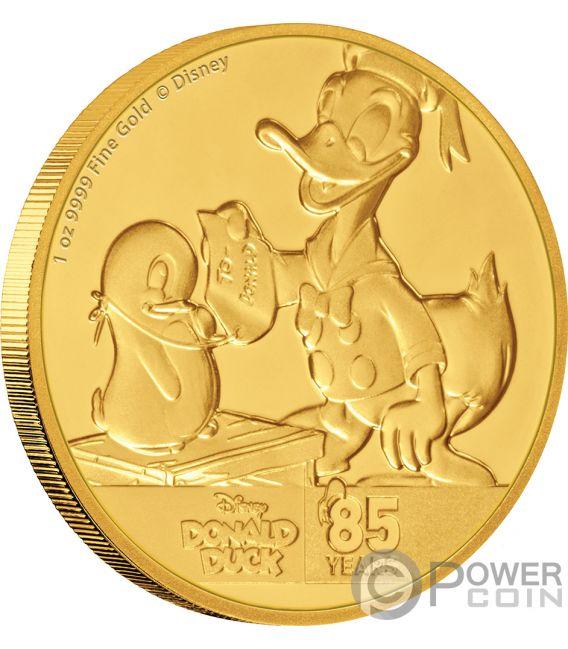 DONALD DUCK 85th Anniversary Disney 1 Oz Gold Coin 250$ Niue 2019