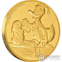 DONALD DUCK 85 Jahrestag Disney 1 Oz Gold Münze 250$ Niue 2019
