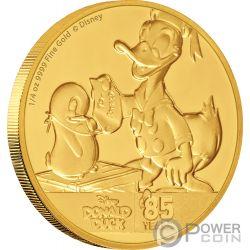 DONALD DUCK Paperino 85 Anniversario Disney 1/4 Oz Moneta Oro 25$ Niue 2019