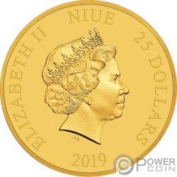DONALD DUCK Утка 85 Юбилей Диснея 1/4  Oz Монета Золото 250$ Ниуэ 2019