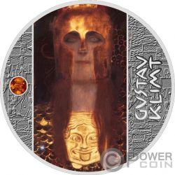 PALLAS ATHENE Ventaglio Ambra Gustav Klimt Golden Five Moneta Argento 1$ Niue 2019