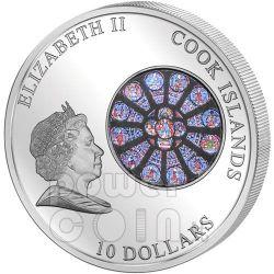 WINDOWS OF HEAVEN NOTRE DAME De Paris Moneda Plata 10$ Cook Islands 2011