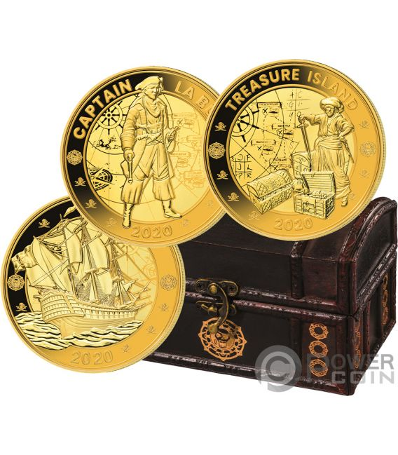 PIRATES INDIAN OCEAN Set Gilded Gold Plated Coin 1 Rupee Seychelles 2020