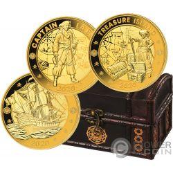 PIRATES INDIAN OCEAN Set Moneda Dorada Chapada Oro 1 Rupee Seychelles 2020
