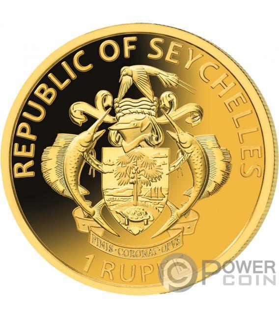 PIRATES INDIAN OCEAN Set Moneta Dorata Placcata Oro 1 Rupee Seychelles 2020