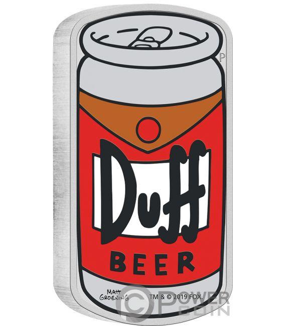 DUFF BEER Bier Simpsons 1 Oz Silber Münze 1$ Tuvalu 2019