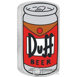 DUFF BEER Simpsons 1 Oz Silver Coin 1$ Tuvalu 2019