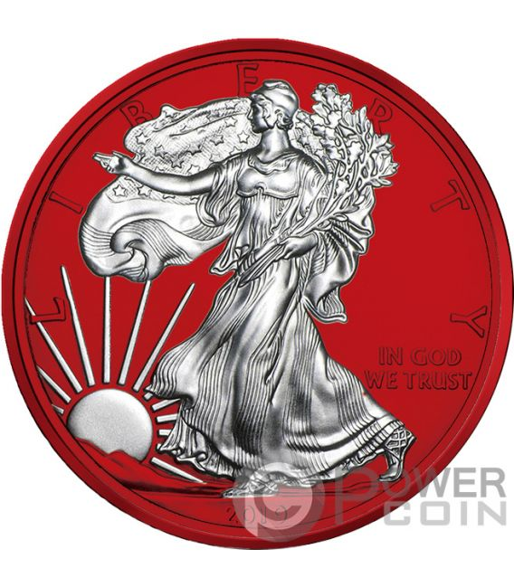 AMERICAN EAGLE Space Red Walking Liberty 1 Oz Silver Coin 1$ USA 2019