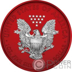 AMERICAN EAGLE Space Red Walking Liberty 1 Oz Moneda Plata 1$ USA 2019