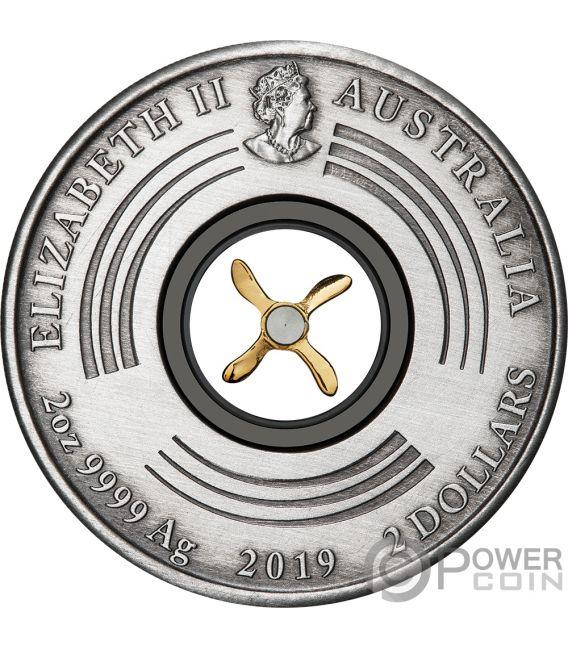 FIRST FLIGHT England Australia 100 Anniversary 2 Oz Silver Coin 2$ Australia 2019