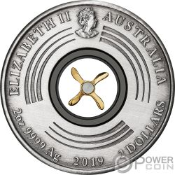 FIRST FLIGHT England Australia 100 Aniversario 2 Oz Moneda Plata 2$ Australia 2019