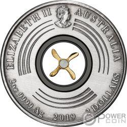 FIRST FLIGHT England Australia 100 Anniversario 2 Oz Moneta Argento 2$ Australia 2019