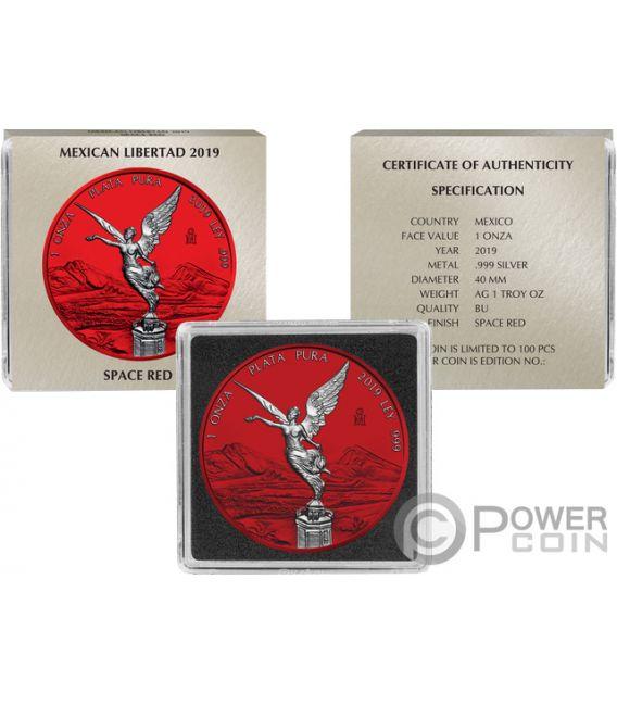 LIBERTAD Liberty Space Red 1 Oz Silver Coin Mexico 2019