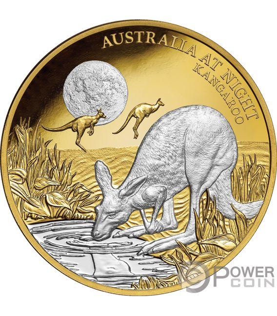KANGAROO Australia at Night 1 Oz Gold Coin 100$ Niue 2019