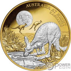 KANGAROO Canguro Australia at Night 1 Oz Moneda Oro 100$ Niue 2019