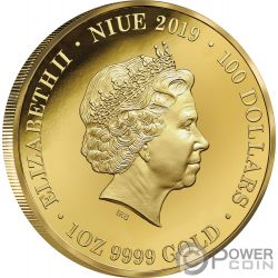 KANGAROO Canguro Australia at Night 1 Oz Moneta Oro 100$ Niue 2019
