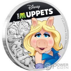 MISS PIGGY Cerdo Muppets Disney 1 Oz Moneda Plata 2$ Niue 2019