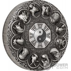 LUNAR ANIMALS Chinese Zodiac 5 Oz Silver Coin 5$ Tuvalu 2019