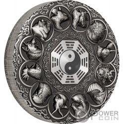 LUNAR ANIMALS Chinesischer Zodiac 5 Oz Silber Münze 5$ Tuvalu 2019