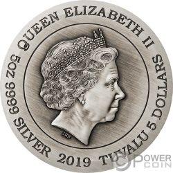 LUNAR ANIMALS Zodiaco Chino 5 Oz Moneda Plata 5$ Tuvalu 2019