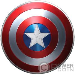 CAPTAIN AMERICA SHIELD Schild Marvel Silber Münze 1$ Fiji 2019