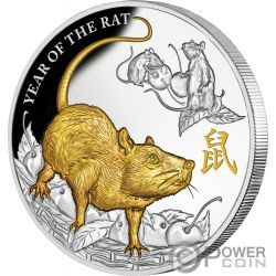 YEAR OF THE RAT Anno Topo Lunar 5 Oz Moneta Argento 8$ Niue 2020