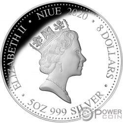 YEAR OF THE RAT Год Крыса 5 Oz Монета Серебро 8$ Ниуэ 2020