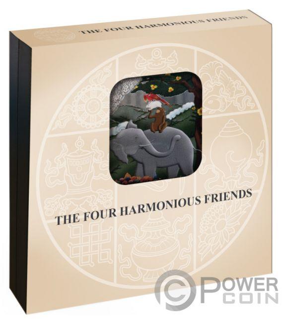FOUR HARMONIOUS FRIENDS Amici 4 Oz Moneta Argento 100 Nu Bhutan 2019