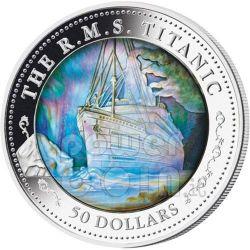 TITANIC 100th Anniversary Transatlantic Mother of Pearl 5 Oz Moneda Plata 50$ Fiji 2012