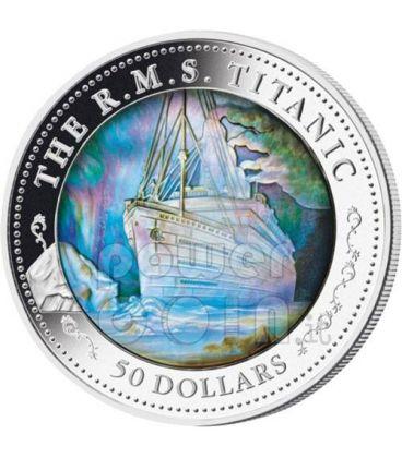 TITANIC 100th Anniversary Transatlantic Mother of Pearl 5 Oz Silver Coin 50$ Fiji 2012