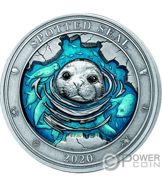SPOTTED SEAL Underwater World 3 Oz Silver Coin 5$ Barbados 2020
