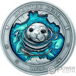 SPOTTED SEAL Foca Underwater World 3 Oz Moneta Argento 5$ Barbados 2020