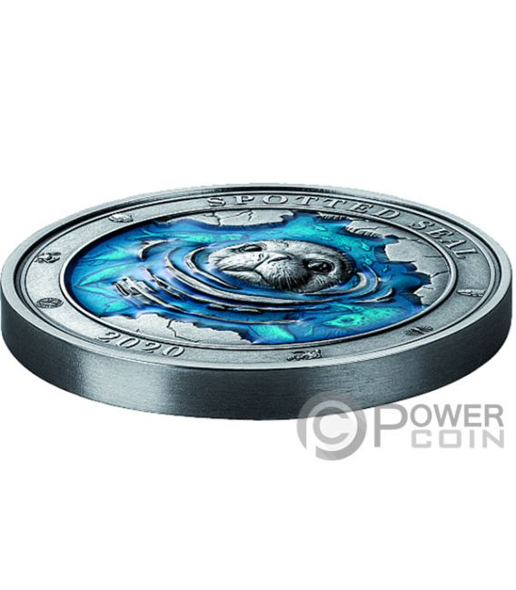 SPOTTED SEAL Punktdichtung Underwater World 3 Oz Silber Münze 5$ Barbados 2020