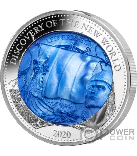 DISCOVERY NEW WORLD Leif Erikson Mother Of Pearl 5 Oz Moneta Argento 25$ Solomon Islands 2020