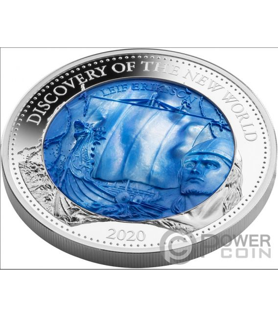 DISCOVERY NEW WORLD Leif Erikson Mother Of Pearl 5 Oz Moneda Plata 25$ Solomon Islands 2020