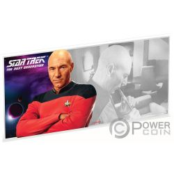 CAPTAIN PICARD Star Trek Next Generation Characters Foile Silber Note 1$ Niue 2019