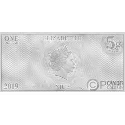 CAPTAIN PICARD Star Trek Next Generation Characters Foil Silver Note 1$ Niue 2019